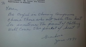 Grandma's Yearbook Inscription